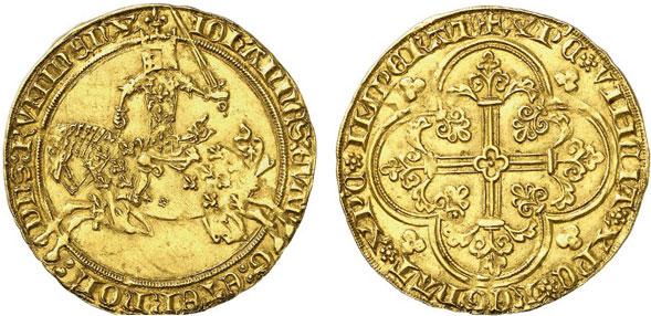 Nr. 703: RUMMEN. Arnold von Oreye (1355-1370). Cavalier d'or, o. J., Rummen. Äußerst selten. Fast vorzüglich. Taxe: 5000,– Euro