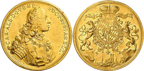 Nr. 7750: BAYERN. Karl Albert (1726–1745, seit 1742 Kaiser Karl VII.) 20 Dukaten 1739, München. Äußerst selten. Vorzüglich. Spezialsammlung Bayern. Taxe: 50 000,– Euro
