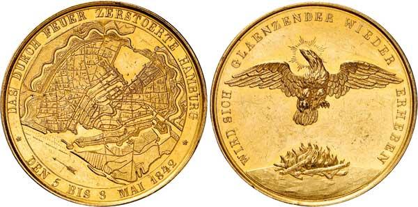 Nr. 8044: HAMBURG. Goldmedaille 1842, unsigniert, Werkstatt G. Loos. Vermutlich das einzige Exemplar im Handel. Vorzüglich.  Taxe: 20 000,– Euro