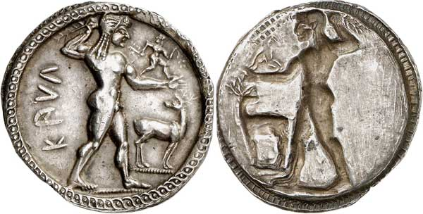 Nr. 2086: Kaulonia (Bruttium). Stater, 525–500. Aus Sammlung G. Picard, Auktion Sambon & Canessa, Paris (1923), Nr. 191. Hohes Relief. Vorzüglich. Taxe: 25 000,– Euro