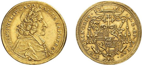 Nr. 6645: PASSAU. Johann Philipp von Lamberg (1689–1712). 2 Dukaten 1701, Augsburg. Äußerst selten. Fast vorzüglich. Taxe: 20 000,– Euro
