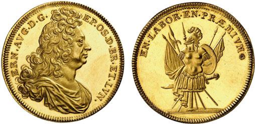 Nr. 2340: BRAUNSCHWEIG-CALENBERG-HANNOVER. Ernst August (1679–1698). Goldabschlag vom Taler-Stempel o. J. (1691), Zellerfeld. Äußerst selten. Fast Stempelglanz. Taxe: 25 000,– Euro