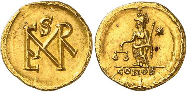 Nr. 3048: BYZANZ. Marcianus (450–457). Semissis oder Semissis-Gewicht. Aus Auktion NFA XVI (1985), Nr. 566. Unikum. Vorzüglich. Taxe: 15 000,– Euro