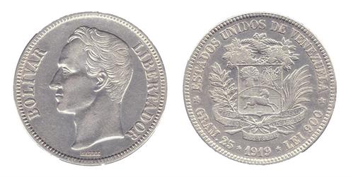 5 Bolivares (1919, Venezuela, Silber). Bildquelle: Wikimedia, Photographer
