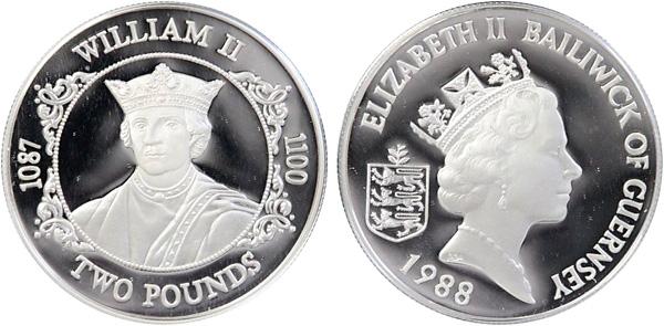 2 Pounds 1988, Normannische Herrscher – William II., Silber 925er, 28,28 g, Ø 38,61 mm