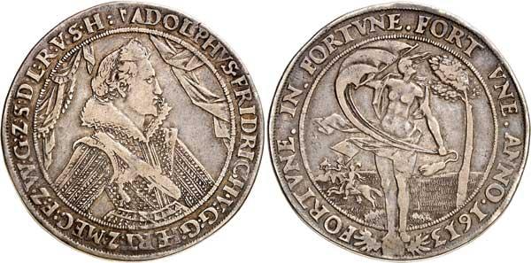 Nr. 4068: MECKLENBURG-SCHWERIN. Adolf Friedrich (1610–1658). Breiter Reichstaler 1613, Gadebusch. Sehr selten. Sehr schön. Spezialsammlung Mecklenburg.  Taxe: 3000,– Euro