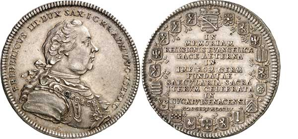 Nr. 5930: SACHSEN-EISENACH. Friedrich III. von Gotha (1741–1755). Dicker doppelter Reichstaler 1755, Eisenach, auf die 200-Jahrfeier des Augsburger Religionsfriedens. Äußerst selten. Vorzüglich bis Stempelglanz. Taxe: 25 000,– Euro