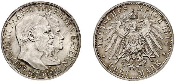 Nr. 5064: DEUTSCHES REICH. BAYERN. Ludwig III. (1913–1918). 3 Mark 1918. Auf die Goldene Hochzeit des bayerischen Königspaars. Sehr selten. Vorzüglich-Stempelglanz. Taxe: 30 000,– Euro