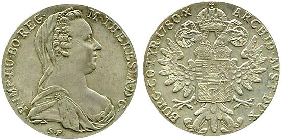 Österreich, Maria-Theresia-Taler, 1780, Silber – Bildquelle: Wikimedia. Thalgraf