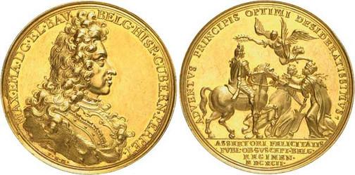 Nr. 7721: BAYERN. Maximilian II. Emanuel (1679–1726). Goldmedaille zu 12 Dukaten 1692 von P. H. Müller auf den Einzug in Brüssel als Statthalter der Niederlande. Sehr selten. Vorzüglich. Spezialsammlung Bayern. Taxe: 20 000,– Euro