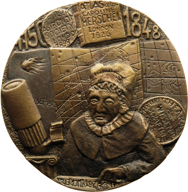 """Klaus Kowalski, Medaille """"Caroline Lucretia Herschel"""" (einseitig), 2017, Bronze, Ø 106 mm"""