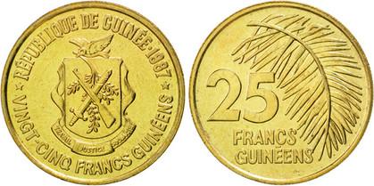 25 Francs 1987, Kursmünze, Nickelmes