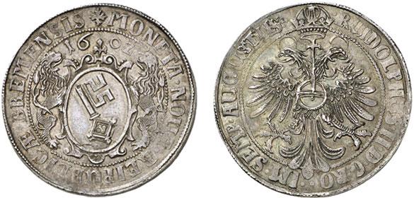 """Nr. 2076: BRAUNSCHWEIG-WOLFENBÜTTEL. Christian, Bischof von Halberstadt (1617–1626). Goldgulden 1622, Lippstadt """"Pfaffenfeind-Goldgulden"""". Sehr selten. Gutes sehr schön. Taxe: 15 000,– Euro"""