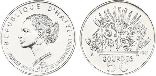 50 Gourdes 1981, FAO Welternährungstag 1981, Silber 925er, 20,00 g, Ø 32 mm