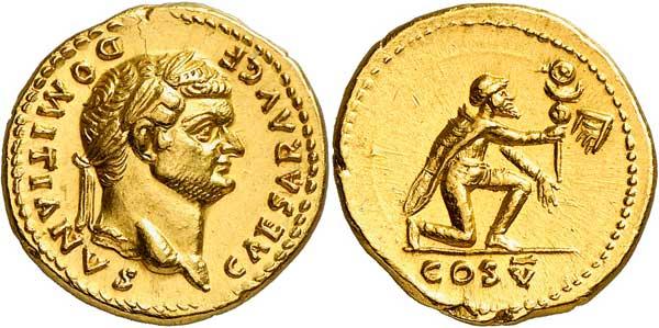 Nr. 2838: ROM. Domitianus (81–96). Als Caesar. Aureus 77/8. Selten. Vorzüglich. Taxe: 15 000,– Euro