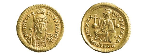 byzantinischer Solidus, 408–450 (Inv.-Nr. 1987/1478)