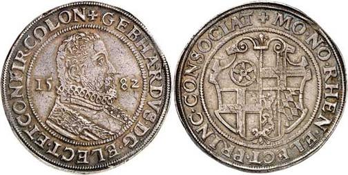 Nr. 3622: KÖLN. Erzbistum. Gebhard Truchseß von Waldburg (1577–1583). Reichstaler 1582, Deutz. Äußerst selten. Sehr schön. Aus Sammlung Bankhaus Sal. Oppenheim.  Taxe: 15 000,– Euro