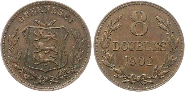 8 Doubles 1902, Kursmünze, Bronze, 9,72 g, Ø 31,6 mm