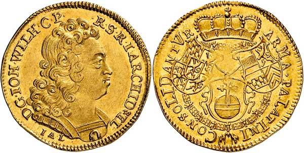 Nr. 8054: JÜLICH-KLEVE-BERG. Johann Wilhelm II. (1679–1716). Dukat 1708, Düsseldorf. Sehr selten. Vorzüglich bis Stempelglanz. Taxe: 12 500,– Euro