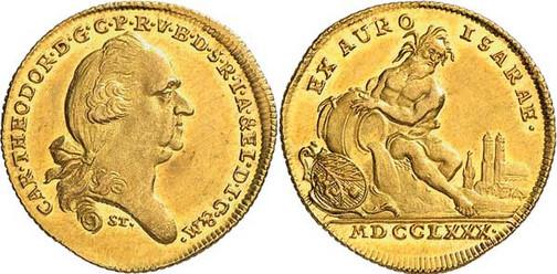 Nr. 7783: BAYERN. Karl Theodor (1777–1799). Flußgold-Dukat 1780, München, aus Isargold. Sehr selten. Vorzüglich bis Stempelglanz. Spezialsammlung Bayern.  Taxe: 7500,– Euro