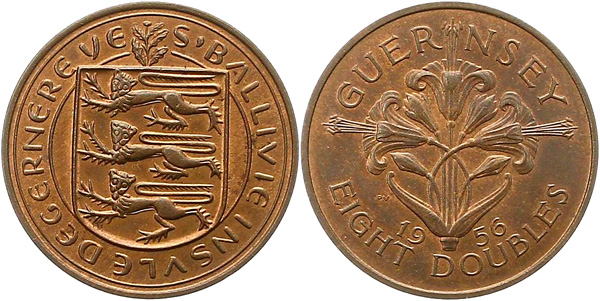 8 Doubles 1956, Kursmünze, Bronze, 9,72 g, Ø 30,9 mm