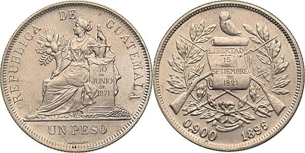 1 Peso 1896, Kursmünze, Silber 900er, 25,00 g, Ø um 37 mm