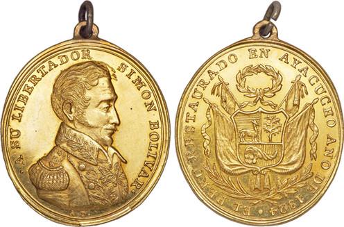 Goldmedaille (1825, Peru). Bildquelle: Heritage Auctions