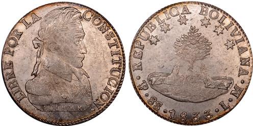 8 Soles (1833, Bolivien, Silber). Bildquelle: Numismatic Guaranty Corp.