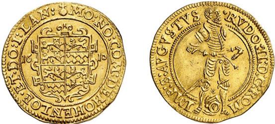 Nr. 6607: HOHENLOHE. Dukat 1610, Nürnberg. Äußerst selten. Vorzüglich.  Taxe: 20 000,– Euro