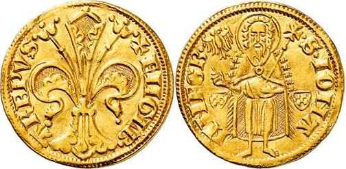 Nr. 3540: KÖLN. Erzbistum. Engelbert von der Mark (1364–1368). Goldgulden o. J. (1364), ohne Münzstättenzeichen (Riel). Äußerst selten. Sehr schön bis vorzüglich. Aus Sammlung Bankhaus Sal. Oppenheim.  Taxe: 15 000,– Euro