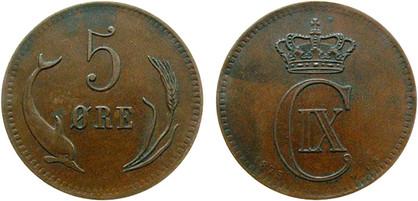 5 Øre 1875, Kursmünze, Bronze, 8 g, Ø 25,00 mm