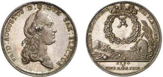 Nr. 3062: SACHSEN. Friedrich August III./I. (1763–1806–1827). Doppelter Konventionstaler 1780, Dresden. Nur 20 Exemplare geprägt. Vorzüglich bis Stempelglanz.  Taxe: 35 000,– Euro