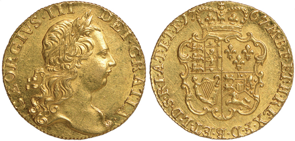 : Guinea (England 1767, Gold) – Bildquelle: Baldwin's of St. James, Auction 9, Lot 1335