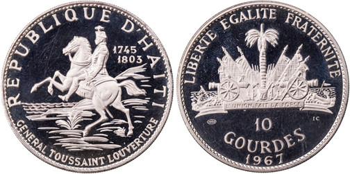 10 Gourdes 1967, 10 Jahre Revolution/F. D. Toussant L'Ouverture, 999er Silber, 47,05 g, Ø 40 mm