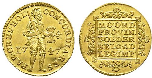 Vereinigte Niederlande, Provinz Holland, Dukat (Gold), Den Haag 1747