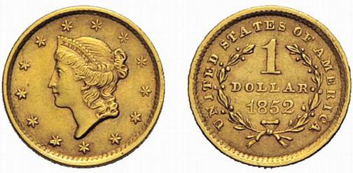 Vereinigte Staaten von Amerika, Dollar (Gold), Philadelphia 1852