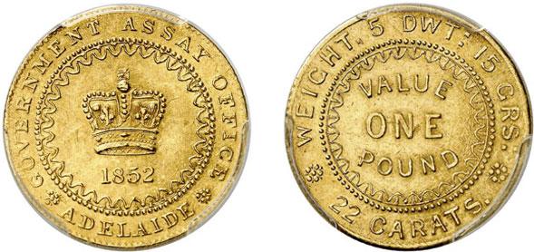 """Nr. 6217: AUSTRALIEN. Victoria (1837–1901). Pound 1852. """"Adelaide Pound"""". Sehr selten. Vorzüglich-Stempelglanz Taxe: 20 000,– Euro"""