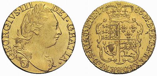 Königreich Großbritannien und Irland, König Georg III., reg. 1760–1820, Guinea (Gold), London 1785