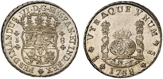 Nr. 1272: CHILE. Ferdinand VI. (1746–1760). 8 Reales 1758, Santiago. Äußerst selten. Überdurchschnittlich gut ausgeprägtes Exemplar. Sehr schön-vorzüglich.  Taxe: 25 000,– Euro