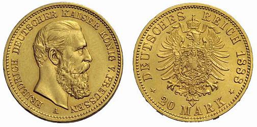 Deutsches Reich, Kaiser Friedrich, reg. 1888, 20 Mark (Gold), Berlin 1888