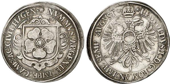 Nr. 1079: HAGENAU (Elsaß). Reichstaler 1665 mit Titel Leopolds I. Sehr selten. Sehr schön-vorzüglich. Taxe: 15 000,– Euro