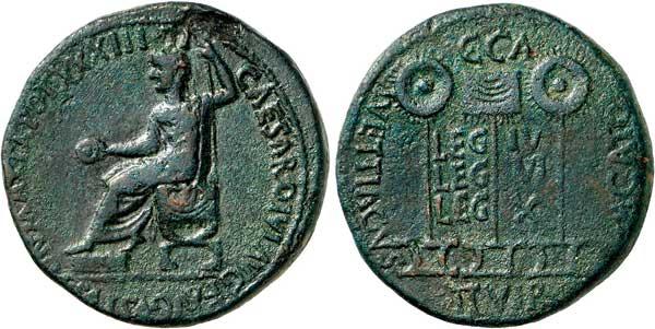Nr. 1627: CAESARAUGUSTA / SALTUIE (Saragossa). Semis, Zeit des Tiberius. Sehr selten. Grüne Patina. Gutes sehr schön. Aus Sammlung Dr. W. R. Taxe: 750,– Euro