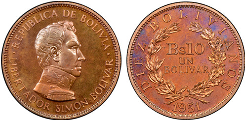 10 Bolivianos (1951, Bolivien, Bronze). Bildquelle: Numismatic Guaranty Corp.