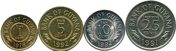 1, 5, 10, 25 Cents 1978–1992, Kursmünzen, 1 c:  Nickelmessing, 1,5 g, Ø 16 mm; 5 c: Nickelmessing, 2,5 g, Ø 19,51 mm; 10 c: Kupfernickel, 2,75 g, Ø 18,06 mm; 25 c: Kup-fernickel, 4,25 g, Ø 22,00 mm – Rückseiten
