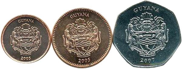 1, 5 und 10 Dollars 2005 bzw. 2007, Kursmünzen, 1 $:  Eisen, Kupfer galvanisiert, 2,4 g, Ø 17 mm; 5 $: Eisen, Kupfer galvanisiert, 3,75 g, Ø 20,5 mm; 10 $: Eisen, Nickel galvanisiert, siebeneckig, 5 g, Ø 23 mm – Vorderseiten