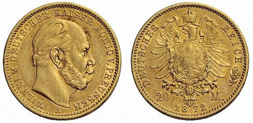 Deutsches Reich, Kaiser Wilhelm, reg. 1871–1888, 20 Mark (Gold), Berlin 1872