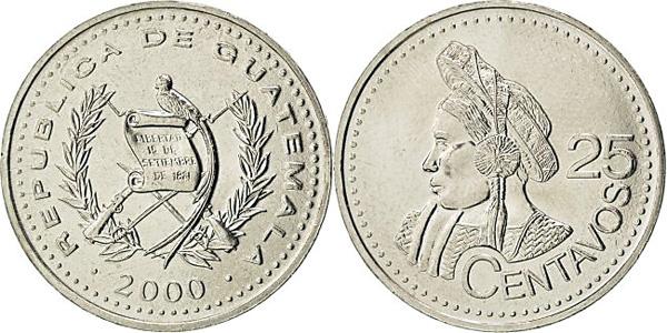 25 Centavos 2000, Kursmünze, Kupfernickel-Zink, 8,00 g, Ø 27 mm