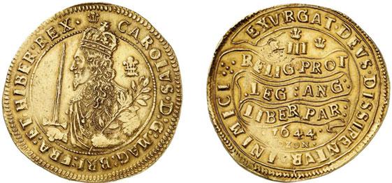 Nr. 6144: ENGLAND. Karl I. (1625–1649). Triple Unite 1644, Oxford. Sehr selten. Fast vorzüglich. Taxe: 50 000,– Euro