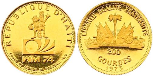 200 Gourdes 1973, X. Fußball-WM in Deutschland 1974, Gold 900er, 2,91 g, Ø 18 mm
