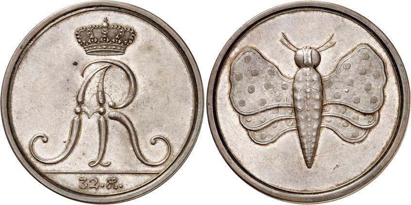 Nr. 4571: SACHSEN. Friedrich August I. (1694–1733). Schmetterlingstaler zu 32 Groschen. Sehr selten. Vorzüglich bis Stempelglanz. Sammlung Saxonia in Nummis. Taxe: 20 000,– Euro